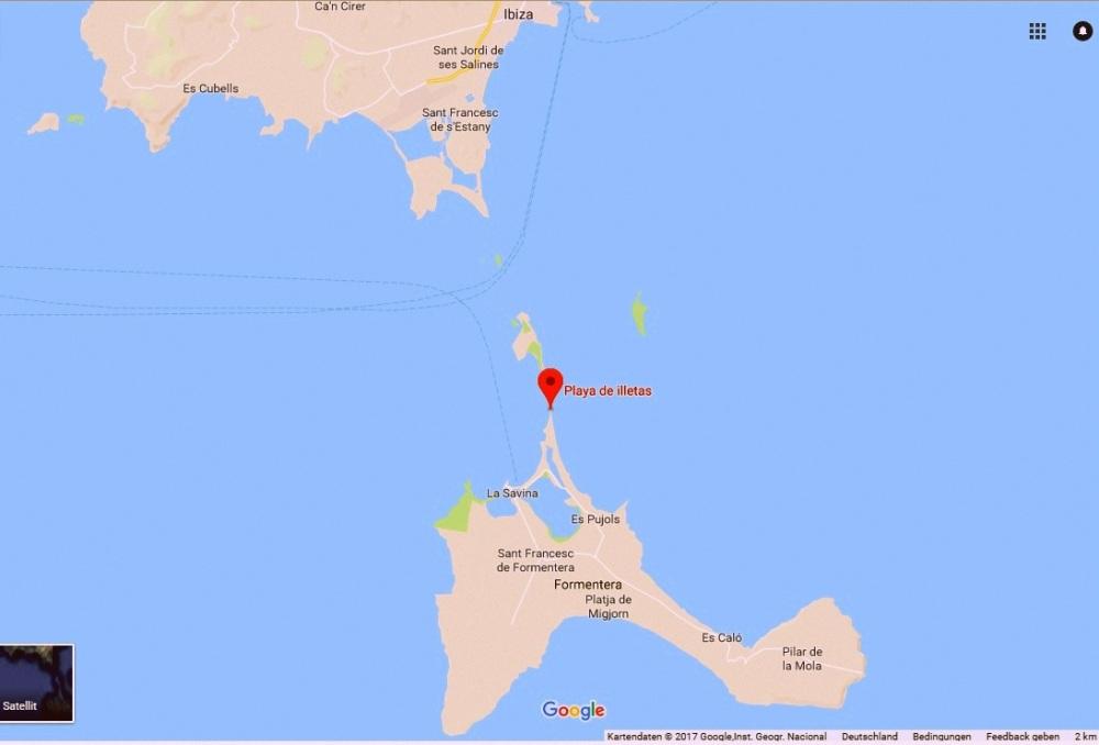 Karte Playa Illetes Formentera