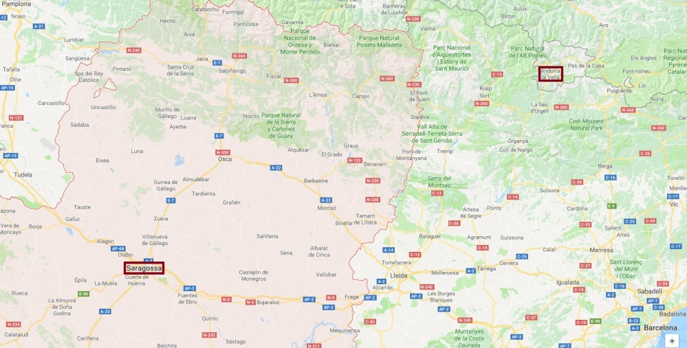 Aragonien Andorra Karte