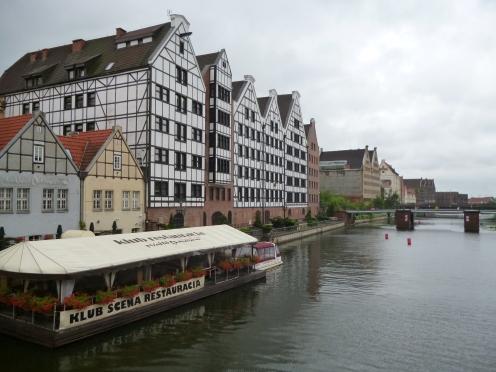 Danzig (Gdansk) Fachwerkhäuser am Hafen in der Altstadt