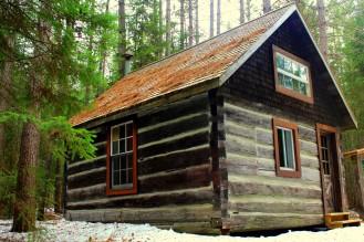 Holdfäller Hütte beim Logging Museum Rundweg Algonquin Park Ontario Canada sawmill