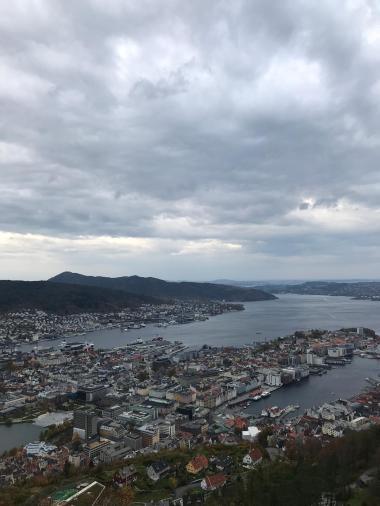 Bergen von oben - Blick auf die Häuder und den Hafen