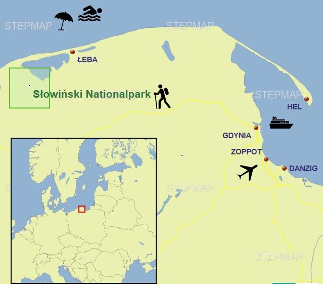 Karte mit dem Slowinski Nationalpark bei Leba an der polnischen Ostsee